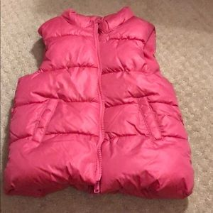 Old navy, girls, pink puffer vest, size 5T